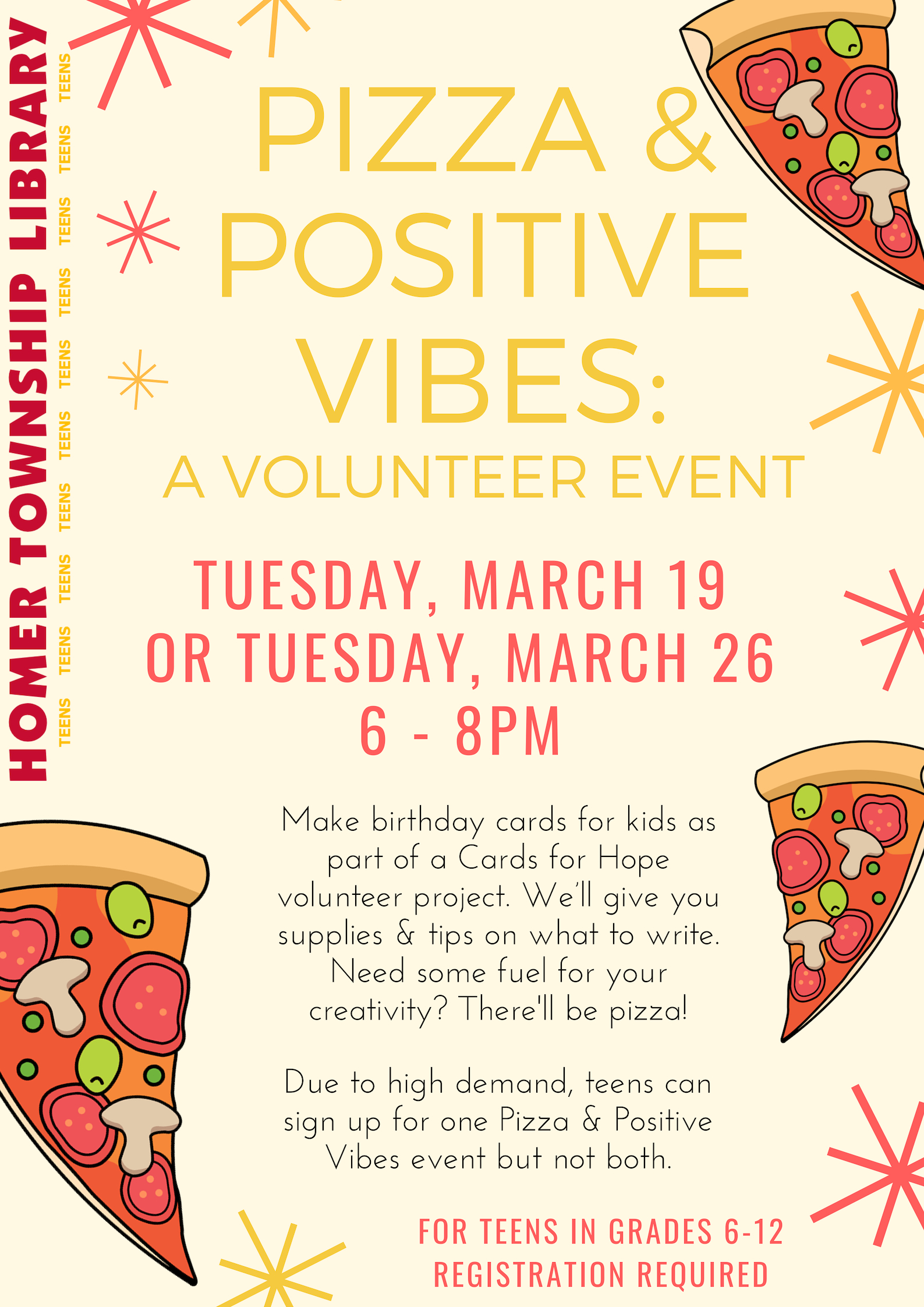 PIZZA POSITIVE VIBES A TEEN VOLUNTEER EVENT